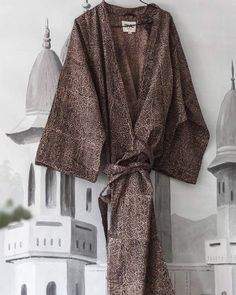 ORGANIC COTTON KIMONO by Tikau (Brown/flowers, one size) – TIKAU Two Dots, Cotton Kimono, Brown Flowers, Jaipur, Flower Prints, Brown And Grey, Organic Cotton, Style Inspiration, Clothing Accessories