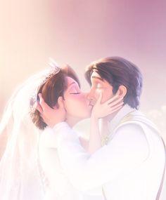 Image via We Heart It https://weheartit.com/entry/151989766/via/26341278 #disney #kiss #rapunzel #tangled #wedding #white #flynn
