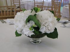 These pedestal bowls have been filled with white hydrangeas.