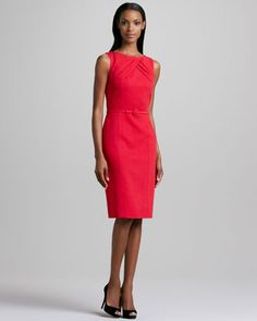 Pleat-Neck Belted Dress by David Meister at Neiman Marcus.