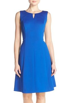 Ellen Tracy Keyhole Front Scuba Fit & Flare Dress (Regular & Petite) available at #Nordstrom
