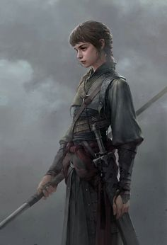 This is how I would imagine Olive, the one of Karina and Damon's twin daughters. She is a spitfire always, but her fear of the unknown can hold her at bay and make her a glorious tactician. She follows behind Karina, spear in hand, and aims to rule the Rayuma solely, having no interest in her position at Court. When not plagued by the beginning of her prophetic visions, she agonizes over her unrequited love for Losva Ara warrior, Cane.