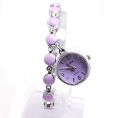 FW934C Round PNP Shiny Silver Watchcase Purple Dial Women Pendant Bracelet Watch