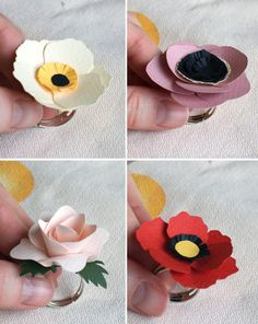 paper flower rings - not sure how practical they are but they sure are cute!