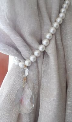 Items similar to Decorative curtain tieback with faux pearls and vintage glass drop - drapery holder - tie backs curtain on Etsy Curtain Holder, Curtain Tie Backs, Curtains With Blinds, Drapes Curtains, Drapery, Window Coverings, Window Treatments, Diy Home Decor, Room Decor