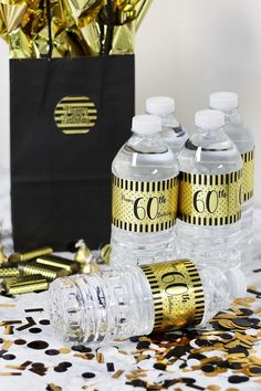 Black and Gold Birthday Metallic Foil Water Bottle Labels Wrap these shiny metallic foil stickers around water bottles make the perfect happy birthday party favors. Add to black and gold birthday party decorations! Black and gold polka dots and 60th Birthday Ideas For Mom Party, 60th Birthday Theme, 60th Birthday Party Decorations, Happy Birthday For Her, Gold Birthday Party, Happy Birthday Parties, Daddy Birthday, Birthday Centerpieces, Birthday Wishes