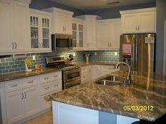 Finished Kitchen with blue sea glass tile backsplash