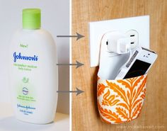 Clever Storage Using Repurposed Items :: a lotion bottle transforms into a cellphone charging station www.thechicsite.com