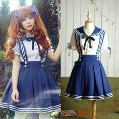 [Custom] tanaka.l match Japanese sailor sailor waist strap skirt lolita-Taobao $13