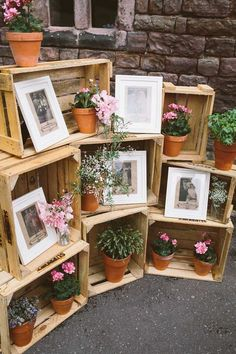 Wooden crates styled with vintage wedding photographs