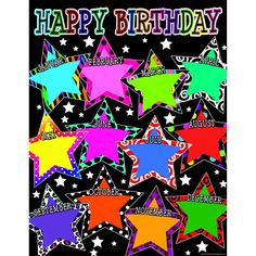 Teacher Created Resources Fancy Stars Happy Birthday Chart Convenient, useful learning tools that decorate as they educate! Birthday Chart For Preschool, Birthday Chart Classroom, Classroom Charts, Birthday Wall, Birthday Charts, Office Birthday, Classroom Displays, Happy Birthday, Classroom Borders