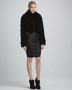 Donna Karan Shredded Faux-Fur Bolero, Sleeveless Turtleneck & Seamed Pencil Skirt