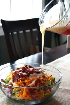 Broccoli, Bacon, and Cheese Salad....yes please! - looks yummy...need a low cal dressing