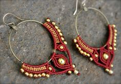Tribal hoop earring-Macrame earrings Big gypsy by yasminsjewelry