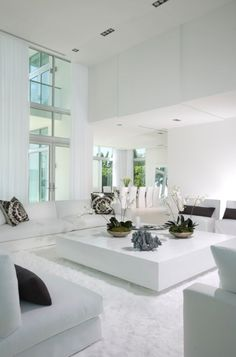 ♂ Contemporary interior design living room Minimal, all in white. V