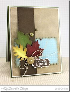 Burlap Background, Fine Check Background, Mason Jar Labels, Falling Leaves Die-namics, Mason Jar Mug Die-namics, Pinking Edge Rectangle STAX Die-namics, Vertical Stitched Strips Die-namics - Jodi Collins #mftstamps