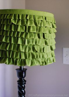 DIY lampshade ( I bet the same could be made with Lace Ribbon, and it'd be no-sew!)