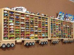 16 Ideas diy baby boy room wall decor toy storage for 2019 Hot Wheels Storage, Kid Toy Storage, Storage Ideas, Hot Wheels Display, Truck Storage, Wooden Truck, Toy Organization, Bedroom Organization, Organizing