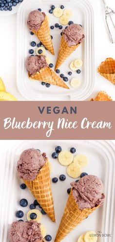 Add this recipe to the top of your #summereats list! This no-churn vegan blueberry ice cream recipe is made with fresh fruit and a pinch of cinnamon. Thick, creamy and delicious – you will love this healthy dairy-free ice cream recipe! Vegan Blueberry Ice Cream, Vegan Ice Cream, Dairy Free Ice Cream, Dairy Free Milk, Lemon Bowl, Speed Foods, Nice Cream, Yummy Smoothies, Frozen Blueberries