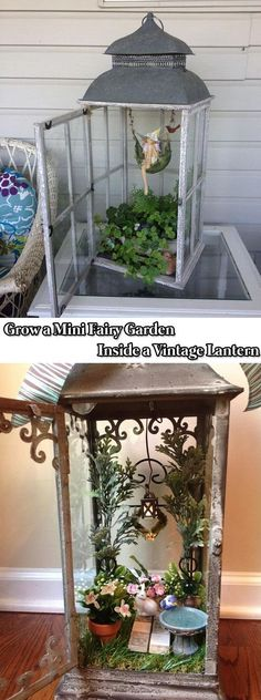 Grow a Mini Fairy Garden Inside a Vintage Lantern - 17 Stunning Fairy Gardens Created by Recycled Things