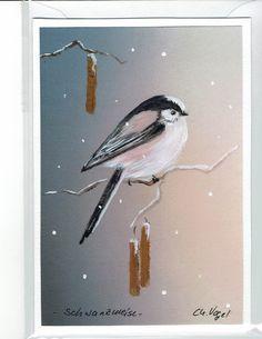 Grüße - Grußkarte - Schwanzmeise, handgemalt - ein Designerstück von Vogelmalerin bei DaWanda