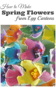Transform an egg carton into beautiful egg carton flowers. A simple spring craft for kids. Step by step tutorial.