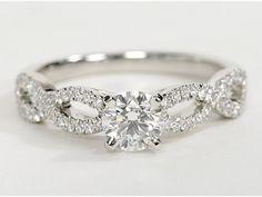 Infinity Twist Micropavé Diamond Engagement Ring in Platinum