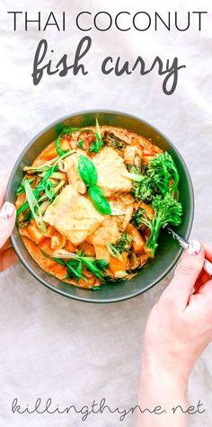 Coconut Fish Curry With Kabocha Squash Thai Coconut Fish Curry with kabocha squash recipe! // / fall dinner / pescetarian / pescatarian /Thai Coconut Fish Curry with kabocha squash recipe! Coconut Fish, Thai Coconut, Coconut Curry, Fish Recipes, Seafood Recipes, Dinner Recipes, Healthy Recipes, Local Seafood, Drink Recipes