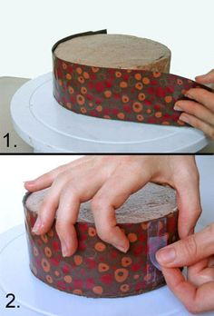 How towrap a cake with chocolate; transfer sheets acetate; mini chocolate truffles, colors