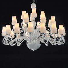 Chandeliers | Designer Chandeliers - $2500 Murano Chandelier, White Chandelier, Ceiling Chandelier, Glass Ceiling, Ceiling Lights, Lighting Store, Cool Lighting, Murano Glass, Designer Chandeliers