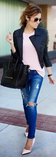 Leather Jacket with Pastel Tee and Ripped Denim