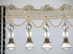 "4"" Exquisite Tassel Fringe Bead Trim Ivory per Yard | eBay"