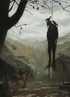 ArtStation - old stuff - Witcher dead village , Mateusz Michalski