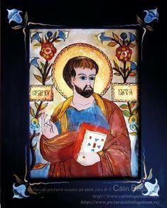 Sfântul Apostol Luca icoană naivă pictată pe dosul sticlei în ulei pictură tradițională Sfântul Luca lucrare de artă religioasă icoană ortodoxă pe sticlă icoanăSfântul Apostol Luca icoană  pictată  pe sticlă cu Sfântul Apostol Luca
