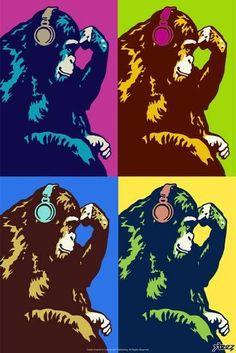 Steez Monkey Thinker Quad Pop-Art Music Poster - 61 x 91 cm Pop Art Posters, Funny Posters, Cool Posters, Poster Prints, Art Prints, Creative Posters, Retro, Pop Art Fashion, Monkey Art