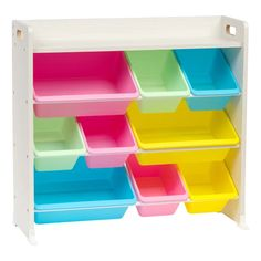 Function mixed with style makes storage fun. This storage bin organizer shelf provides bins-full of storage for everything from toys to craft supplies to accessories and more. There are three rows of storage baskets in different sizes f or ver Toy Storage Bench, Kids Storage, Plastic Storage, Storage Baskets, Toy Organization, Do It Yourself Home, Shelves, Iris, Craft Supplies