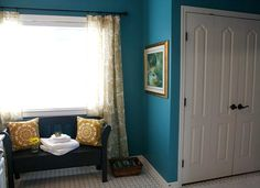 Pretty bathroom makeover from @dorene beckley on Houses ... beautiful colored walls and I love the tile floors!