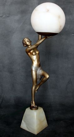 A large art deco spelter figure lamp, circa 1930, Germany.