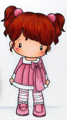 Chibi pelirroja con coletas y un traje rosa