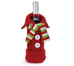 Knit Sweater Scarf Wine Bottle Bag Christmas Hostess Gift Decor