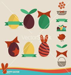 Happy easter cards with easter eggs ribbon vector by jannoon028 on VectorStock®