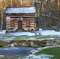 Spring Mill Cabin, Spring Mill State Park ~ Mitchell, Indiana Area ~ so quaint ~ would love to be there! Cabana, Log Cabin Homes, Log Cabins, Mountain Cabins, Rustic Cabins, Mountain Man, Cabins And Cottages, Cozy Cabin, Cabins In The Woods