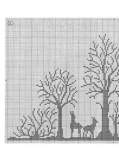 Biscornu Cross Stitch, Cross Stitch Tree, Cross Stitch Flowers, Cross Stitch Charts, Cross Stitch Patterns, Filet Crochet Charts, Knitting Charts, Knitting Patterns, Cross Tree