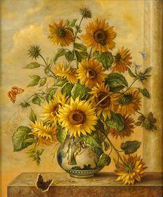 Oskar Robert Dogarth (1898-1961) — Sunflowers and Butterflies (827×1000)