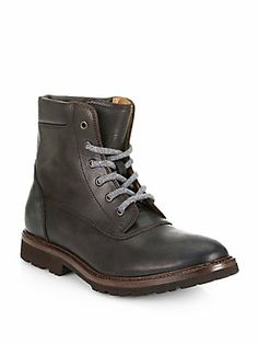 Brunello Cucinelli Leather Lace-Up Boots