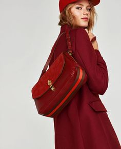 Image 1 of LEATHER CROSSBODY BAG WITH FOLDOVER FLAP from Zara