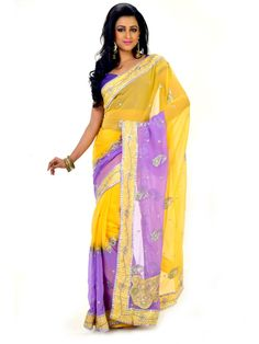 Yellow & Purple Zari Embroidered Saree -  Buy Online Yellow & Purple Zari Embroidered Saree at best price in India. shopping to buy eye catching yellow & purple colors Zari embroidered saree with matching blouse fabric in india. Wear dynamic and young style gorgeous designer saree to impress from Indian.
