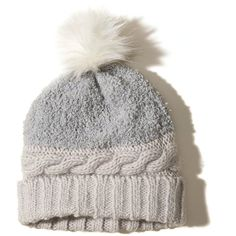 Hollister Pom Knit Beanie ($20) ❤ liked on Polyvore featuring accessories, hats, grey, cable knit beanie, knit beanie, beanie hat, gray knit hat and grey knit hat