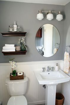 Love the grey and the open shelves. Possible downstairs bathroom redo?