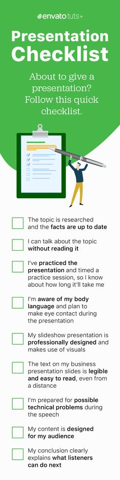 Ready to give a presentation? Follow this checklist